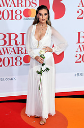 Perrie Edwards attending the Brit Awards at the O2 Arena, London. Photo credit should read: Doug Peters/EMPICS Entertainment