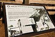 Interpretive sign at the remains of the Waterfall House at Saddle Rock Ranch, Julia Pfeiffer Burns State Park, Big Sur, California