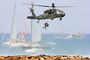 Israeli Air force helicopter, Sikorsky S-70 UH-60 Black Hawk during a sea rescue