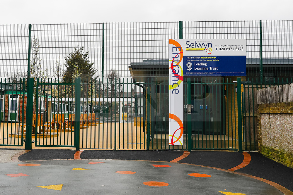 © Licensed to London News Pictures. 28/02/2020. London, UK. Selwyn Primary School in Plaistow, east London is seen closed today as a precaution against coronavirus. Selwyn Primary School has been closed so that a <br /> deep clean can take place after a pupil displayed signs of being unwell and was sent home, with advice to be home-quarantined for 14 days after returning from a half term holiday from an at-risk part of Italy that has been affected by the coronovirus. Photo credit: Vickie Flores/LNP