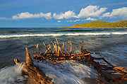 Driftwood on shre of Lake Superior at Old Woman Bay<br /> Lake Superior Provincial Park<br /> Ontario<br /> Canada