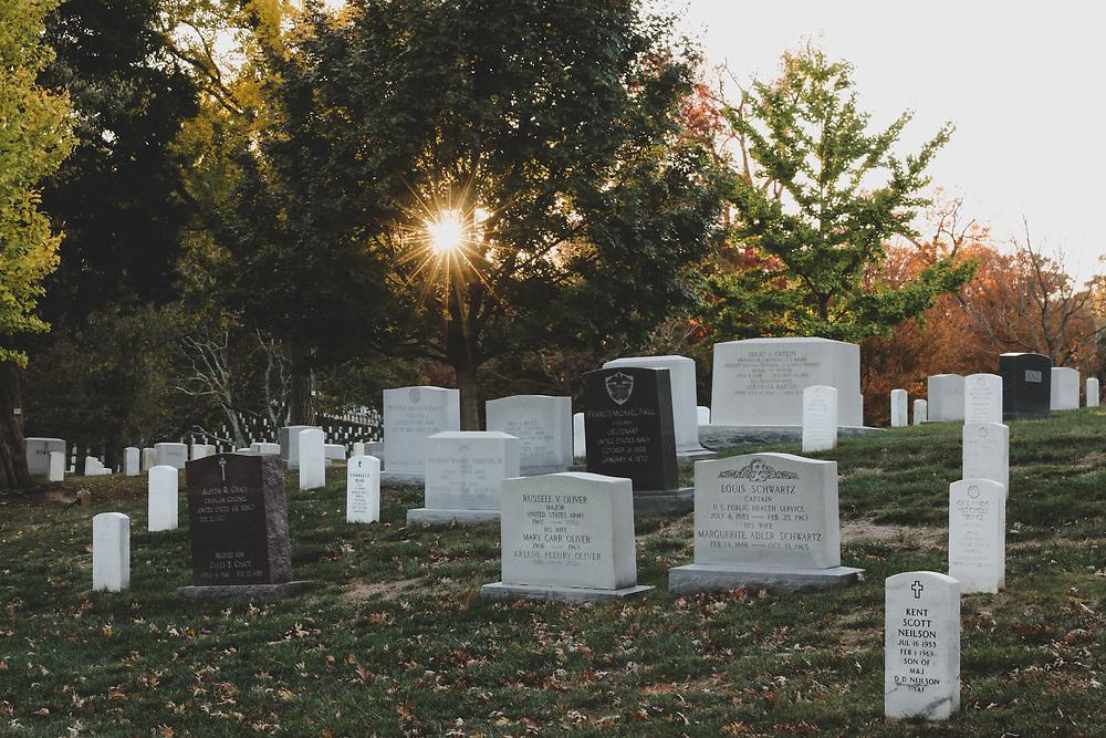 Gravestones within Arlington Cemetary in Washington DC.