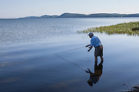 early morning fly casting on lake champlain