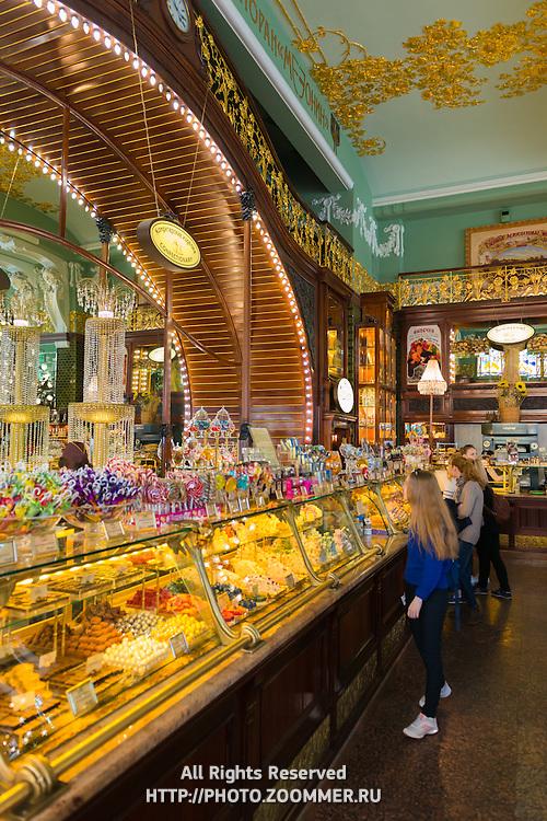 Girl In A Sweet Shop In Eliseevsky Retro Store, Saint Petersburg
