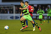 Forest Green Rovers Christian Doidge(9) sprints forward during the Vanarama National League first leg play off match between Dagenham and Redbridge and Forest Green Rovers at the London Borough of Barking and Dagenham Stadium, London, England on 4 May 2017. Photo by Shane Healey.