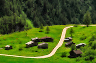 Barns and cottages at Sella Pass, Dolomites Italy