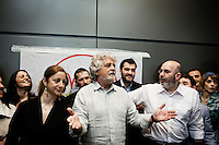 ROME, ITALY - 21 APRIL 2013: Five-Star Movement's leader Beppe Grillo addresses journalists during a news conference held in Rome, Italy, on April 21, 2013.<br /> <br /> Italy's lawmakers re-elected 87-year-old President Giorgio Napolitano on Saturday in a bid to break the country's political gridlock, as protestors outside parliament protested agains the result. Giorgio Napolitano won with a  majority of 738 ballots out of 1,007 possible votes, ahead of leftist academic Stefano Rodota, backed by the the anti-establishment Five Star Movement, who scored 217.