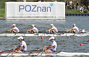 Poznan, POLAND, GBR LW4X , Bow Steph CULLEN, Laura GREENHALGH, Andrea DENNIS and Jane HALL approaching the finish line in the final of the lightweight women's quadruple scull at the 2009 FISA World Rowing Championships. held on the Malta Rowing lake, Sunday  30/08/2009  [Mandatory Credit. Peter Spurrier/Intersport Images]
