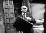 Albert Reynolds Presents Budget (R95)..1989..25.01.1989..01.25.1989.25th January 1989..Today saw the presentation of the Budget of Albert Reynolds,TD, Minister for Finance. Mr Reynolds will present his budget to the Dáil this afternoon..Albert Reynolds, Minister for Finance, poses for pictures outside the Department of Finance, clutching the case containing the final budget draft.