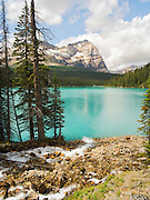 Beautiful, remote Lake O'Hara with Mount Odoray in the background, Yoho National Park, near Field, British Columbia, Canada