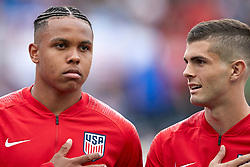 May 28, 2018 - Chester, PA, U.S. - CHESTER, PA - MAY 28: United States midfielder Tim Weah (11) and United States midfielder Christian Pulisic (10) look on during the national anthem prior to the start of the international friendly match between the United States and Bolivia at the Talen Energy Stadium on May 28, 2018 in Chester, Pennsylvania. (Photo by Robin Alam/Icon Sportswire) (Credit Image: © Robin Alam/Icon SMI via ZUMA Press)