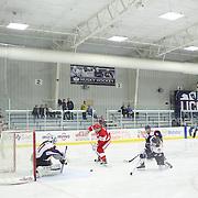 Sarah Lefort, Boston University, has her shot saved by Annie Belanger, UConn, during the UConn Vs Boston University, Women's Ice Hockey game at Mark Edward Freitas Ice Forum, Storrs, Connecticut, USA. 5th December 2015. Photo Tim Clayton