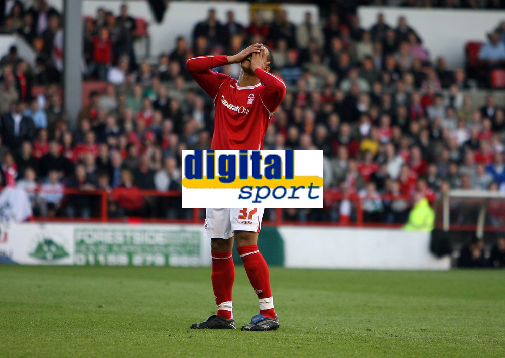 Photo: Rich Eaton.<br /> <br /> Nottingham Forest v Yeovil Town. Coca Cola League 1. Play off Semi Final 2nd Leg. 18/05/2007. Despair for Forests Lewis McGugan after his first half free kick goes well wide of the goal