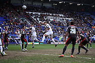 Tranmere Rovers' Ash Taylor heads high and wide. Skybet football league 1 match, Tranmere Rovers v Carlisle United at Prenton Park in Birkenhead, England on Saturday 29th March 2014.<br /> pic by Chris Stading, Andrew Orchard sports photography.
