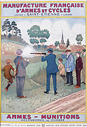 Cover of catalogue of Manufrance (Manufacture Francaise d'Armes et Cycles) Saint Etienne, c1920.  Men and boys tesing a new shotgun.