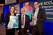 27/01/2014 SCCUL Enterprise Award<br /> Business Services<br /> Winner<br /> GIRT Mobile<br /> <br /> John Lenihan (centre) presented Mary Longworth and Aonghus O'hEocha from GIRT with their award. <br /> This company was established in the summer of 2009 as an Irish/US alliance Their first product Grab Radio app for iPhone was conceived in 2007 and launched before the end of 2009.In November 2012- Received Runner Up in the Professional Services category in the SCCUL entrepreneurship awards 2012 and were also Regional Finalist in the Intertrade Ireland SEEDCORN business competition.<br /> This company develops mobile applications for individuals, companies and any institutions who require a mobile presence. They have also created a software development tool to enable retailers, banks and credit unions to create their own mobile apps without any knowledge of programming.<br /> As well as developing native apps for Apple, Nokia, Samsung, Sony Ericsson and all of the major phone manufacturers using ios, Symbian, Blackberry, Android, Windows Phone 7 they are now developing web apps whereby one size fits all. Because the extent and versatility of their app development expertise they have worked on exciting radio, tv, medical devices, health and sports prediction gaming projects. <br /> <br /> The winner is GIRT Mobile-  Aonghus O'hEocha in Galway, Ireland and Kenneth Roy in West Virginia, USA.<br /> Their prize is<br /> •specially commissioned piece of sculpture from locally based sculptor Liam Butler<br /> •€1000 cash<br /> •Full page Business profile worth €1250 in the Galway Independent SCCUL Enterprise Awards Souvenir Supplement published in March  Photo:Andrew Downes.