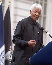 05.12.2013, Johannesburg, ZAF, Nelson Mandela, der Gigant des Humanismus ist im Alter von 95 Jahren in seinem Haus an den Folgen einer Lungenentzuendung gestorben, im Bild Former South African President Nelson Mandela speaks at the opening ceremony for the Tribeca Film Festival on May 8, 2002 at NY City Hal // Nelson Mandela, giant of humanism died, his house, Johannesburg, South Africa on 2013/12/05. EXPA Pictures © 2013, PhotoCredit: EXPA/ Photoshot/ RICHARD B. LEVINE<br /> <br /> *****ATTENTION - for AUT, SLO, CRO, SRB, BIH, MAZ only*****