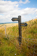 Permissive footpath sign on the Ridgeway long distance footpath near Liddington castle, Wiltshire, England