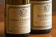 Two bottles of white Burgundy wine from Louis Jadot: Corton Charlemagne Grand Cru and Bourgogne Chardonnay, with the symbol of Maison Louis Jadot the head of Baccus Bacchus, Maison Louis Jadot, Beaune Côte Cote d Or Bourgogne Burgundy Burgundian France French Europe European