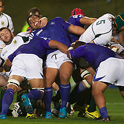 Players challenge in the breakdown during the South Africa V Samoa, Pool D match during the IRB Rugby World Cup tournament. North Harbour Stadium, Auckland, New Zealand, 30th September 2011. Photo Tim Clayton...