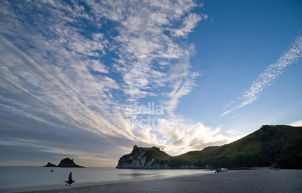 Picture by Daniel Hambury. .13/1/11..A view of Hahei beach at dawn in the Coromandel region,  New Zealand
