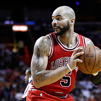 06 March 2011: Chicago Bulls power forward Carlos Boozer (5) is seen during the Chicago Bulls 87-86 victory over the Miami Heat at the AmericanAirlines Arena, Miami, Florida, USA.