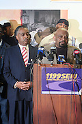 George Greshom, President, SEIU 1199 at The Rev. Al Sharpton and The National Action Network announcement of plans and strategies for political boycotts, demonstrations and civil disobedience in response to Sean Bell Not Guilty Verdict held at 1199 SEIU on April 29, 2008