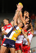 PERTH, AUSTRALIA - APRIL 09:  Quinten Lynch of the Eagles takes a pack mark during the round three AFL match between the West Coast Eagles and the Sydney Swans at Patersons Stadium on April 9, 2011 in Perth, Australia.  (Photo by Paul Kane/Getty Images)