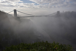 © Licensed to London News Pictures.  02/11/2017; Bristol, UK. The Clifton Suspension Bridge on a misty autumn day. The bridge was designed by the great engineer of the Victorian era, Isambard Kingdom Brunel. Picture credit : Simon Chapman/LNP