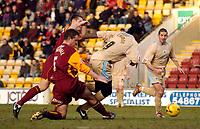 Photo: Jed Wee.<br /> Bradford City v Bristol City. Coca Cola League 1. 18/02/2006.<br /> <br /> Bristol's Mark McCammon (R) tries to sprint clear of the Bradford defence.