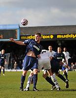 Photo: Tony Oudot/Richard Lane Photography. <br /> Southend United v Swansea City. Coca-Cola League One. 21/03/2008. <br /> Simon Francis of Southend clears from Owain Tudor Jones of Swansea