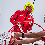 Leg 8 from Itajai to Newport, day 03 on board MAPFRE, Rob Greenhalgh at the helm during a big squall. 24 April, 2018.
