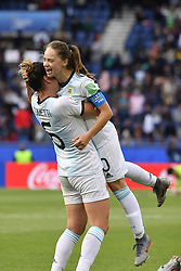 June 10, 2019 - Paris, ile de france, France - Aldana COMETTI (ARG) and Estefania BANINI (ARG) celebrate the draw against the Women's Football team (Nadeshiko Japan) after  the match between Argentina and Japan at the 2019 World cup  on June 10, 2019, at the Parc des Princes stadium in Paris, France. (Credit Image: © Julien Mattia/NurPhoto via ZUMA Press)