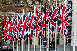 © Licensed to London News Pictures. 30/01/2020. London, UK. Flags fly already on Parliament Square on the last day before Brexit which will happen at 11pm on 31st January 2020. A Brexit party on Parliament Square has been arranged for tomorrow night. Photo credit: Alex Lentati/LNP