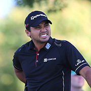 Jason Day, Australia, winces as he feels his back after teeing off during The Barclays Golf Tournament at The Plainfield Country Club, Edison, New Jersey, USA. 27th August 2015. Photo Tim Clayton