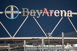 09.02.2016, BayArena, Leverkusen, GER, DFB Pokal, Bayer 04 Leverkusen vs SV Werder Bremen, Viertelfinale, im Bild Schriftzug der BayArena im Sonnenlicht vor dunklem Himmel // during German DFB Pokal quaterfinal match between Bayer 04 Leverkusen and SV Werder Bremen at the BayArena in Leverkusen, Germany on 2016/02/09. EXPA Pictures © 2016, PhotoCredit: EXPA/ Eibner-Pressefoto/ Schüler<br /> <br /> *****ATTENTION - OUT of GER*****