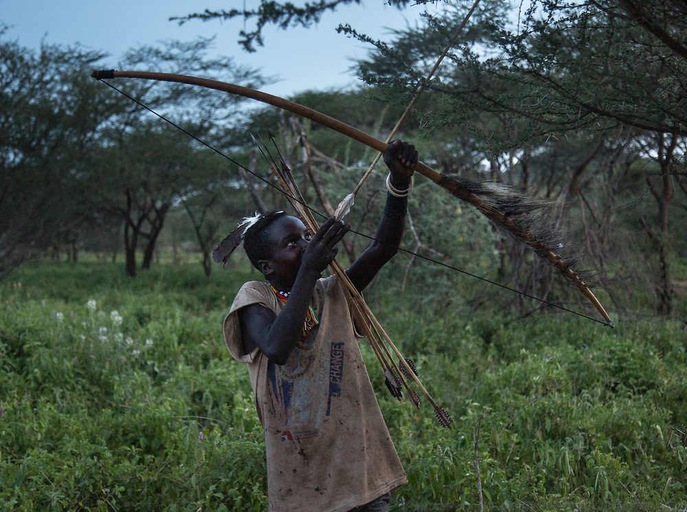 Mahiya. Hunting from a blind for stork, during their migration to Africa. At and near the Hadza camp of Dedauko.