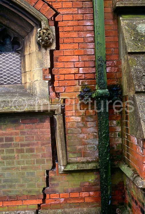 Large cracks have appeared in brickwork of a church in Toxteth, Liverpool, England. Vertical splits in the exterior wall of the building are causing major dangers to its window and stone alongside the drainpipe. Ground subsidence is the motion of a surface (usually, the Earth's surface) as it shifts downward relative to a datum such as sea-level.