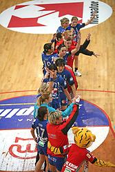 Players of Krim at handball match of 1/4 finals of Women handball Cup Winners cup between RK Krim Mercator, Ljubljana and C.S. Rulmentul-Urban Brasov, Romania, in Arena Kodeljevo, Ljubljana, Slovenia, on 8th of March 2008. Rulmentul-Urban won match against RK Krim Mercator with 29:27.