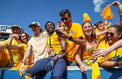 Sep 14, 2019; Morgantown, WV, USA; West Virginia Mountaineers wide receiver T.J. Simmons (1) celebrates with fans after beating the North Carolina State Wolfpack at Mountaineer Field at Milan Puskar Stadium. Mandatory Credit: Ben Queen-USA TODAY Sports