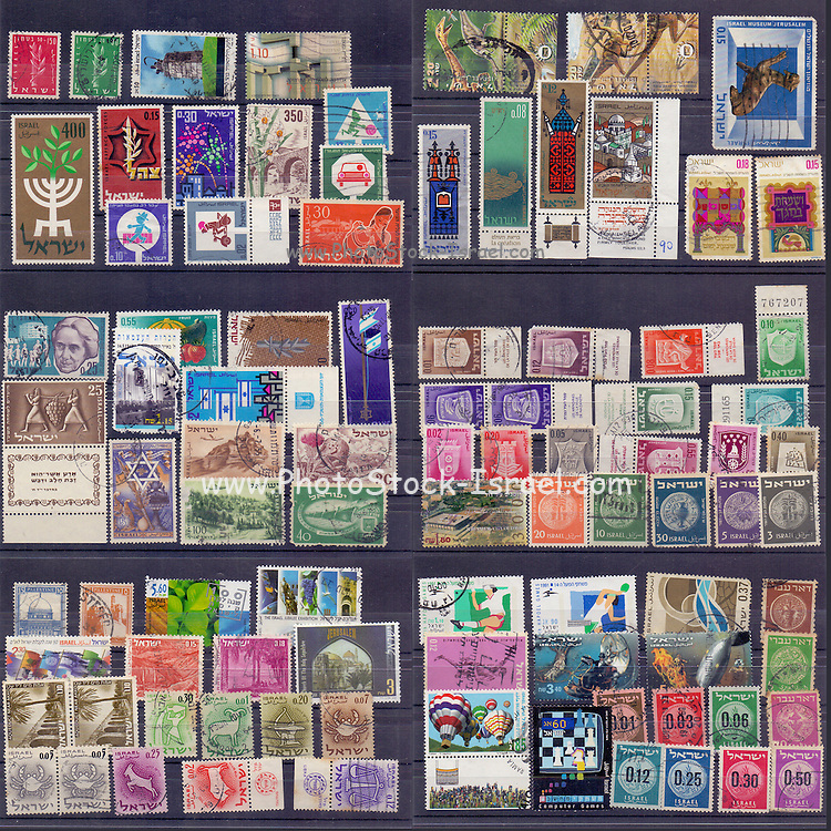 A large collection of old used Israeli stamps from the 1950's and 1960's