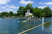 """Henley on Thames, United Kingdom, 22nd June 2018, Friday,   """"Henley Women's Regatta"""",  view, Women's Championship Eights, 379<br /> Yale Univ (USA) (A)  <br /> V. Lienau, L. Lindsay, A. Warner, M. Saunders, A. Neski,<br /> A. Nordell, M. Swords, M. Mazzio-Manson, [Cox] A. Malzahn move past the Temple Island Folly, Henley Reach, River Thames, England, © Peter SPURRIER/"""