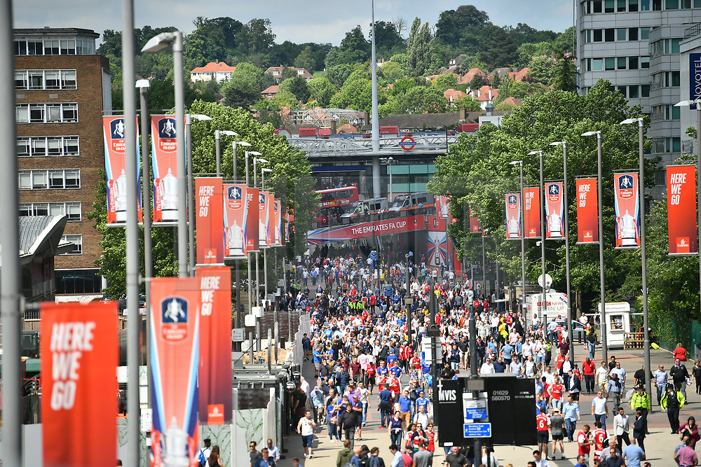 © Licensed to London News Pictures. 27/05/2017. London, UK. Police at Wembley stadium ahead of the FA Cup final match between Arsenal FC and Chelsea FC. Security has been increased at venues across the UK, with the military called in to help police, following a terrorist attack at a music concert in Manchester on Monday evening. Photo credit: Ben Cawthra/LNP