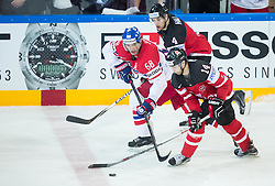 Jaromir Jagr of Czech Republic vs Jordan Eberle of Canada and Taylor Hall of Canada during Ice Hockey match between Canada and Czech Republic at Semifinals of 2015 IIHF World Championship, on May 16, 2015 in O2 Arena, Prague, Czech Republic. Photo by Vid Ponikvar / Sportida