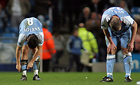 Photo: Paul Thomas.<br /> Manchester City v Chelsea. The Barclays Premiership. 14/03/2007.<br /> <br /> Dejected Joey Barton (L) and Richard Dunne of City.