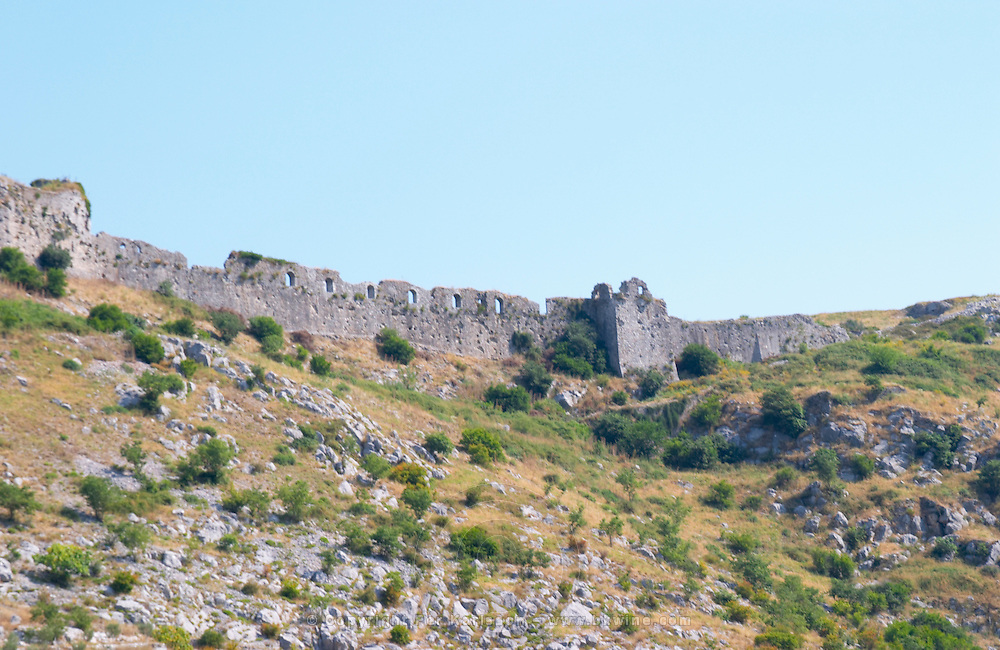 The Rozafa hilltop castle fortress fort between Shkodra and Lezhe. Detail of defence wall. Albania, Balkan, Europe.