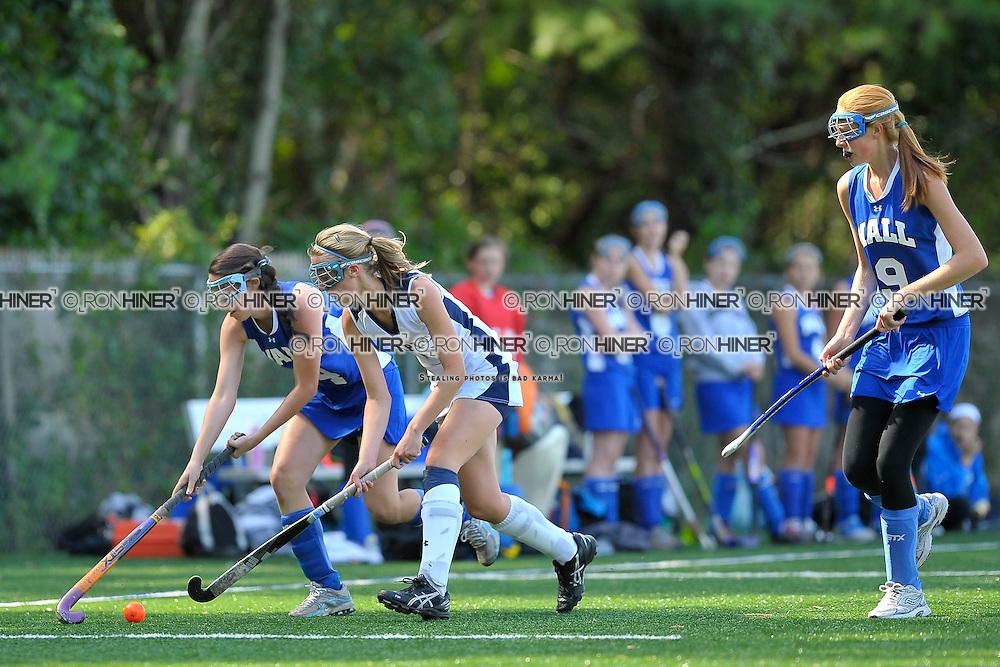 Staples High School Field Hockey..Westport defeats Hall 2-1 in final seconds of the game..Elizabeth Bennewitz