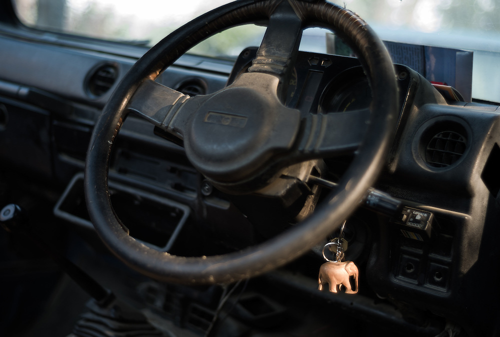 A keyring hangs from a hotel jeep ignition, reminding us that in Chitwan the importance of the elephant is never far away.