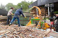 Large shredder chipping wood