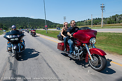 Cycle Source Magazine editors / publishers Heather and Chris Callen on their Cycle Source Ride during the 78th annual Sturgis Motorcycle Rally. Sturgis, SD. USA. Wednesday August 8, 2018. Photography ©2018 Michael Lichter.